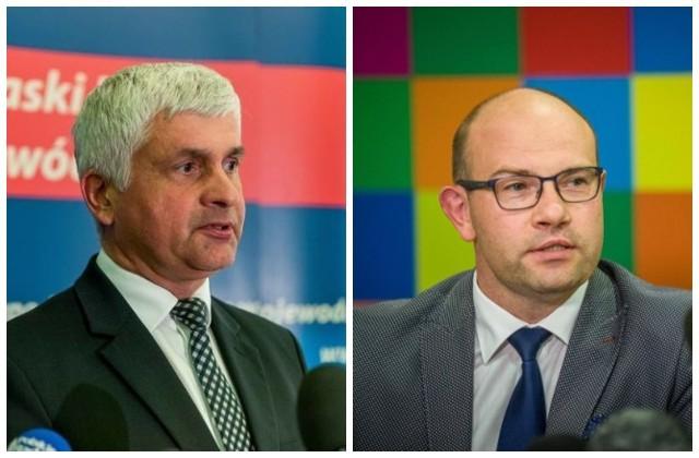 Wojewoda podlaski Bohdan Paszkowski (z lewej) i marszałek województwa podlaskiego Artur Kosicki (z prawej).