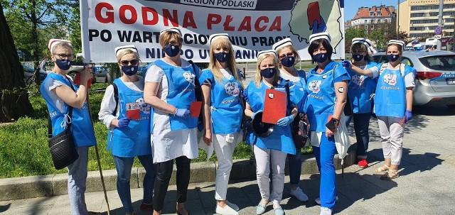 Pielęgniarki z Podlasia na proteście w Warszawie (12.05.2021 r.)