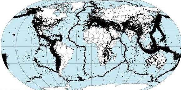 Trzęsienia ziemi na całym świecie w latach od 1963 do 1998