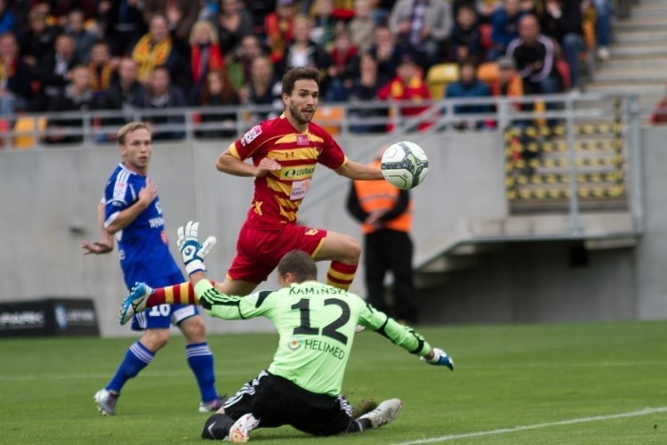 Dani Quintana strzela gola na 2:0 dla Jagiellonii