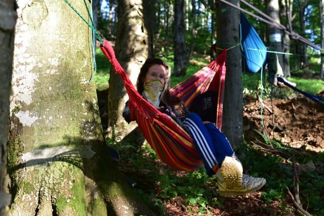 """Młodzi ekolodzy sprzeciwiają się wycince drzew w projektowanym rezerwacie """"Las Bukowy pod Obnogą""""."""