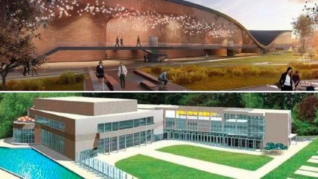 Władze województwa chcą budować z gminą Kraków Centrum Muzyki na Grzegórzkach (górna wizualizacja). Miasto planuje Centrum Muzyki w Cichym Kąciku.