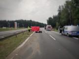 Wypadek na DK1 w Romanowie koło Częstochowy. Nie żyje 45-letni motocyklista. Droga zablokowana, wyznaczono objazdy