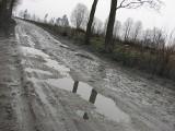 Fatalny stan dróg gruntowych w gminie Koluszki. Błoto, dziury, nierówności.