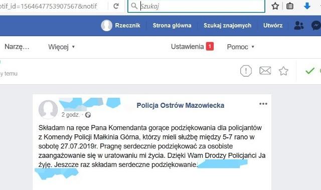 Ostrów Maz. Małkińscy policjanci uratowali życie 64-latkowi