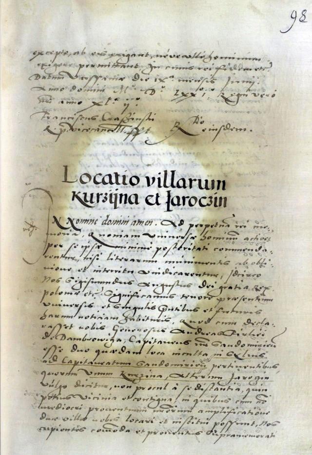 Fragment dokumentu lokacyjnego Jarocina i Kurzyny napisany po łacinie, nadany przez króla Zygmunta Augusta