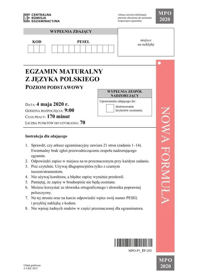 Matura 2020. Zakończył się egzamin z języka polskiego. Publikujemy arkusz egzaminacyjny CKE z poziomu podstawowego. Pod kolejnymi stronami z zadaniami z egzaminu znajdziecie odpowiedzi przygotowane przez nauczycieli.