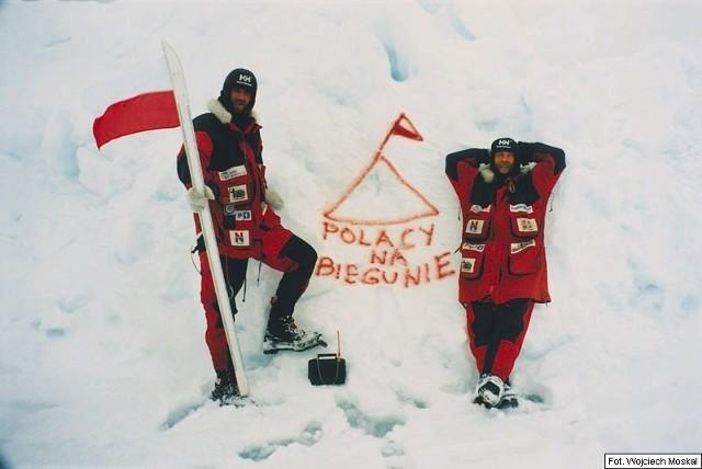 Marek Kamiński i Wojciech Moskal na biegunie północnym