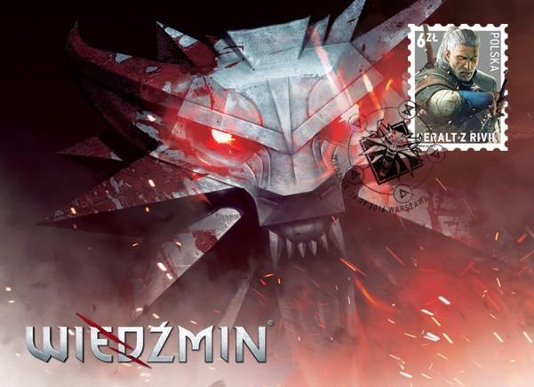 Wiedźmin 3: Dziki GonGeralt z Rivii na znaczku Poczty Polskiej