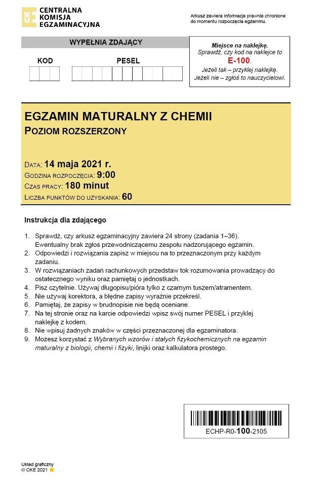ODPOWIEDZI do matury z chemii 2021 >>>Arkusz CKE pojawił się po godz. 14. Na bieżąco dodawane będą sugerowane odpowiedzi do egzaminu z chemii z 14.05.2021.