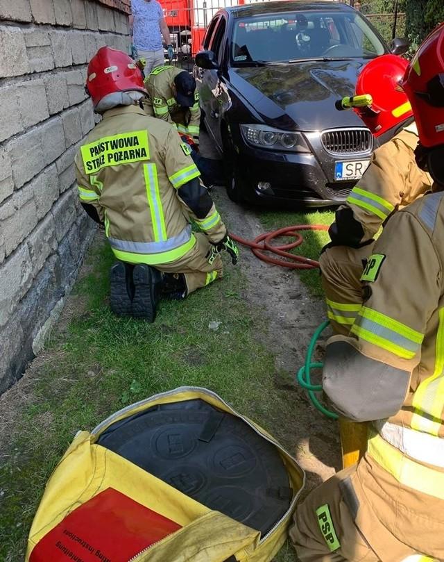 Pies dostał się pod auto. Interweniowała straż pożarna