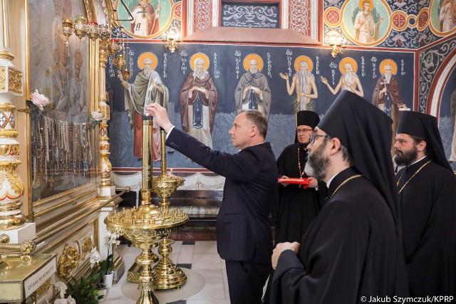 Prezydent Polski Andrzej Duda po raz pierwszy odwiedził monaster w Supraślu