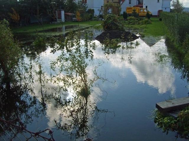 - Tak wyglądają nasze posesje po każdym poważniejszym deszczu - skarzą się mieszkańcy ulicy Chłopickiego w Darłowie.