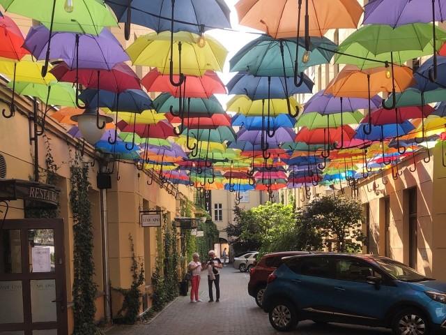 Piotrkowska 120 - wiszące parasolki to jedna z najbardziej charakterystycznych i udanych instalacji w wyremontowanych łódzkich podwórzach