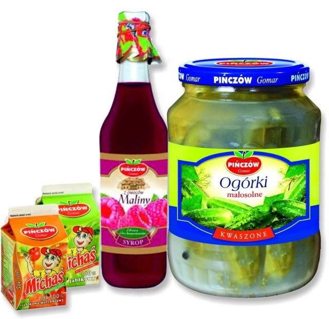 """Syrop z owoców maliny, soki jabłkowy i jabłkowo-marchwiowy Michaś oraz ogórki małosolne pińczowskiego przedsiębiorstwa """"Gomar"""" wytwarzane są według tradycyjnych receptur i szybko zdobyły zaufanie konsumentów."""