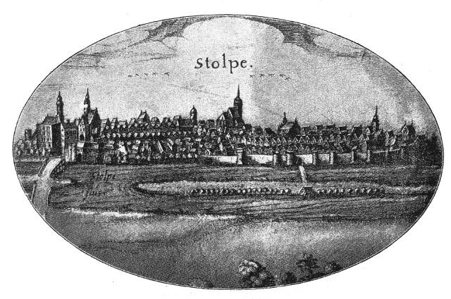 Jedną z najstarszych rycin przedstawiających dawny Słupsk jest ta sporządzona przez Lubinusa w roku 1618