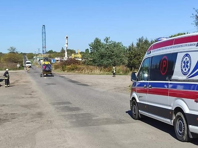 Wypadek przy skrzyżowaniu ulicy Okradzionowskiej z drogą krajową numer 94 w Sławkowie