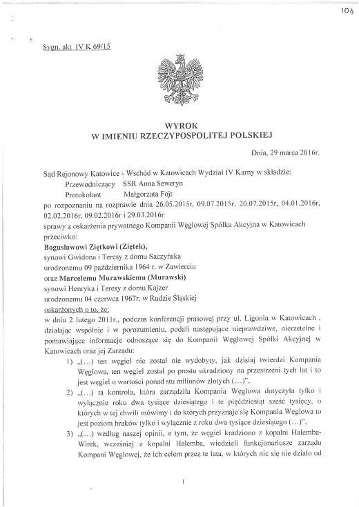Kompania Węglowa odwołuje się od wyroku uniewinniającego związkowcówWyrok sądowy ws. pozwu wobec szefów Sierpnia 80
