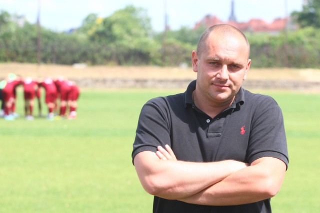 Adam Gołubowski, trener Pogoni II Szczecin.