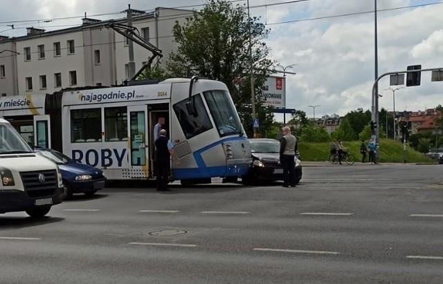 Zderzenie tramwaju linii 20 z autem osobowym.