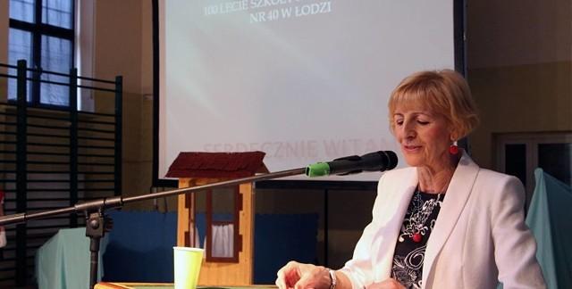 W 2014 roku SP nr 40 świętowała swoje stulecia. Na zdjęciu: dyrektor Janina Franaszek podczas uroczystości jubileuszowych