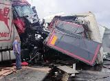 Makabryczny wypadek na A4 w Gliwicach. Zderzyły się TIRy. Autostrada A4 zakorkowana