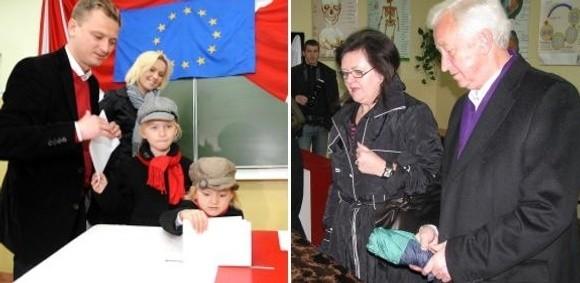 Sławomir Nitras (na zdjęciu z lewej) i Bogusław Liberadzki głosowali wraz z rodzinami.