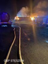 Nocny pożar w Strykowie. Spaliło się około 550 balotów słomy