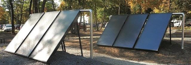 Kolektory słoneczne na terenie nowej siedziby WFOŚiGW w Łodzi