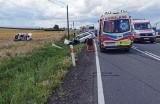 Wypadek na DK40 pod Głogówkiem. Dwie osoby zostały ranne. Jedną z nich do szpitala zabrał śmigłowiec LPR