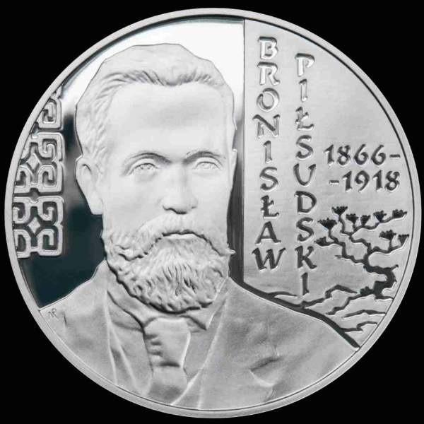 Tak wygląda srebrna 10-złotówka z wizerunkiem Bronisława Piłsudskiego.