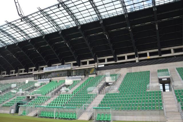 Główna trybuna na Podkarpackim Centrum Piłki Nożnej, zostanie tu w sobotę rozegrany pierwszy mecz