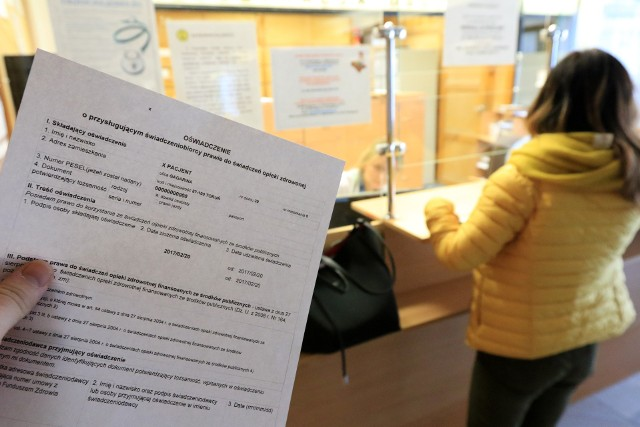 W Akademickiej Przychodni Lekarskiej można wypełnić druki oświadczeń o prawie do opieki zdrowotnej