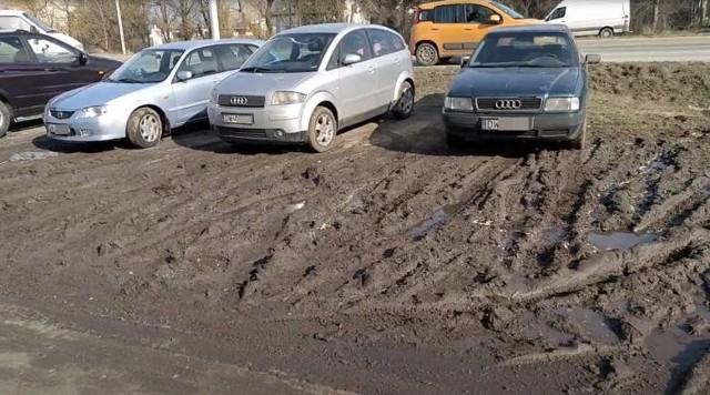 Trawnik rozjeżdżony przez parkujące samochody na Jagodnie