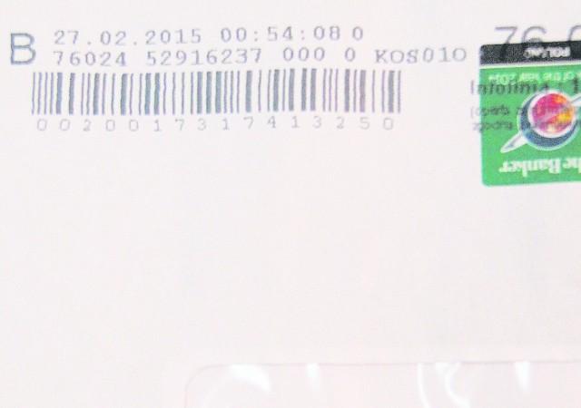 Na tej kopercie, w której jest korespondencja bankowa do naszych Czytelników, wyraźnie widać datę nadania. W ich ręce trafiła ona dopiero po dwóch miesiącach