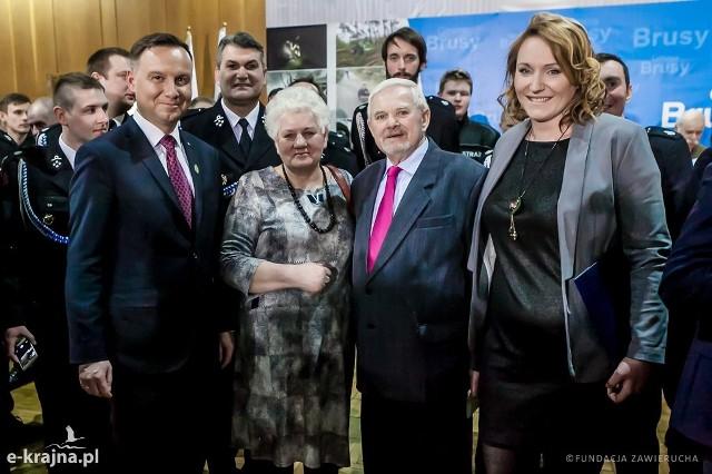 Strażacy z Poddębic spotkali się z prezydentem RP Andrzejem Dudą