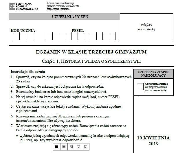 Egzamin gimnazjalny 2019. Historia i WOS ARKUSZ I...