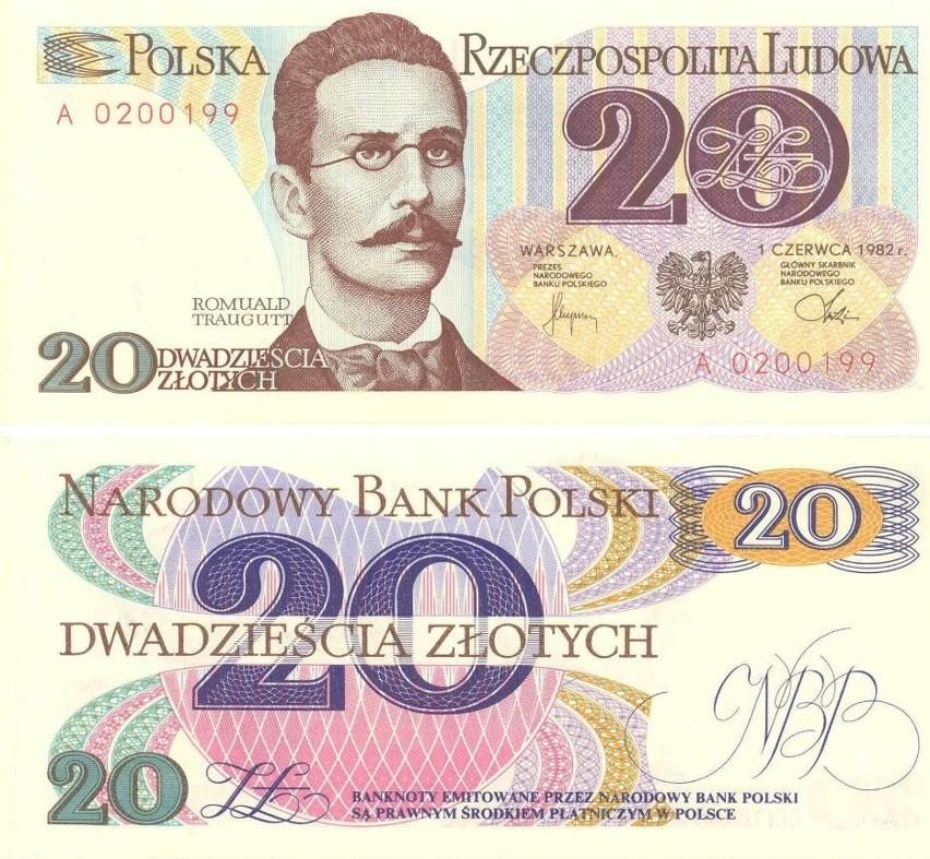 Banknot 20 zł przedstawiał Romualda Traugutta. Na awersie...