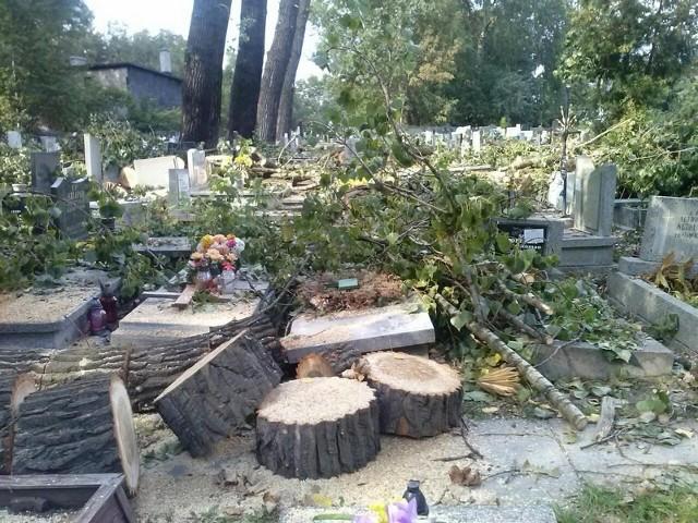 Drzewa przewróciły się na nagrobki na cmentarzu w Załężu