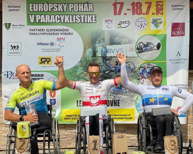 Najlepsza trójka Pucharu Europy UCI ze startu wspólnego: od lewej Krzysztof Plewa, Rafał Wilk i Joseph Fritsch