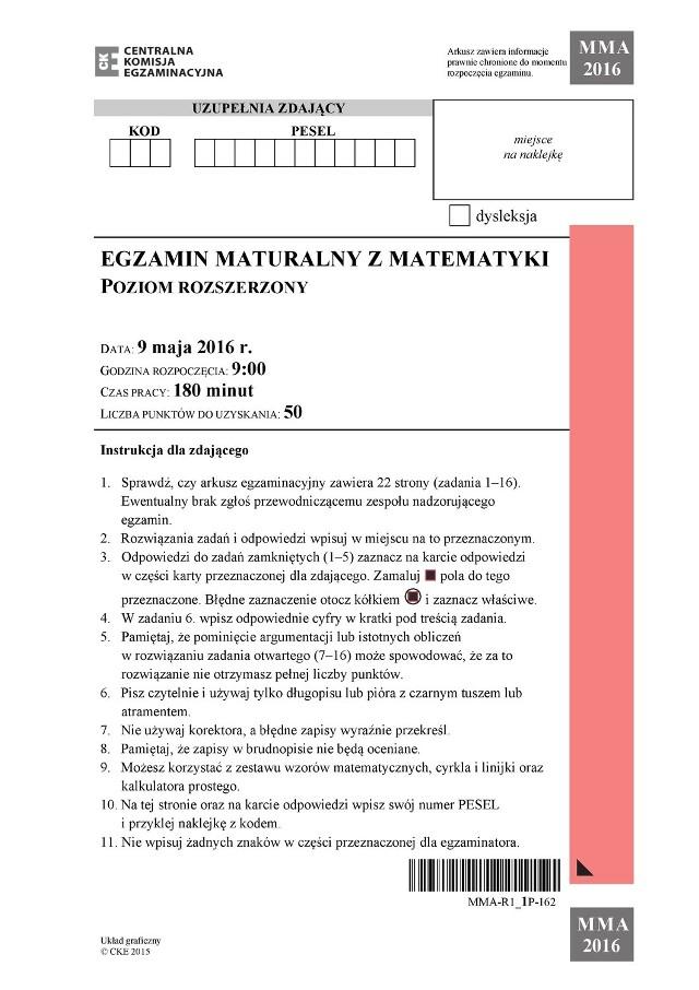 Matura 2016 - matematyka poziom rozszerzony CKE ARKUSZ 09.05.2016