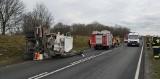 Wypadek tira i cysterny na Drodze Krajowej nr 10. Droga zablokowana [zdjęcia]