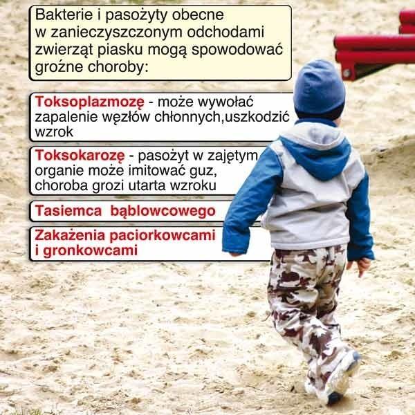 Choroby, które mogą spowodować bakterie obecne w zanieczyszczonym piasku.