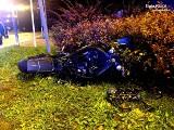 Wypadek motocyklisty w Jastrzębiu-Zdroju. 35-latek na skrzyżowaniu stracił panowanie nad motocyklem i uderzył w latarnię. Był pijany