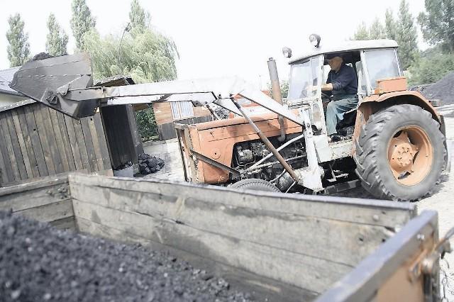 Jan Walczak ze składu węgla przy ul. Lisek we Włocławku ładuje kolejny transport opałuMiał kosztuje obecnie, w zależności od jakości  od 540 do 600 zł za tonę.