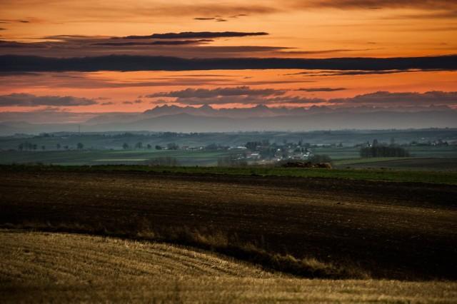 Na horyzoncie Tatry Wysokie, widziane z Ponidzia.