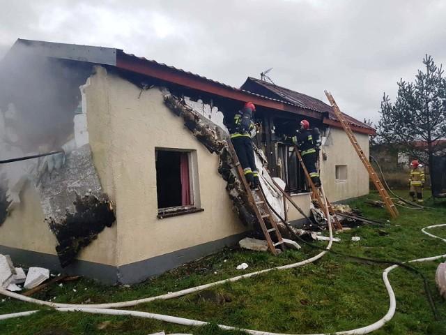 Pożar domu w Kozach