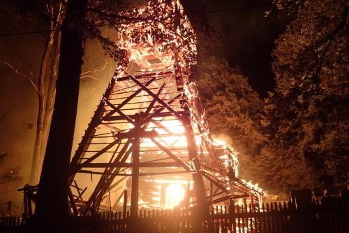 Pożar kościoła w Gutach, pod Trzyńcem na Zaolziu