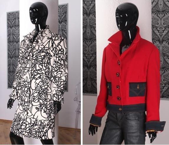 Wiosenne płaszczyki:niezwykle modna czerń z bielą w wydaniu marki Versace oraz równie modna wiosną czerwień od Dolce&Gabbany