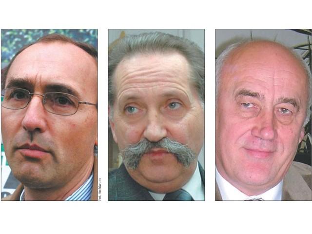 Od lewej: Roman Czepe, były burmistrz Łap, Czesław Jakubowicz, były wójt Juchnowca Kościelnego, Wiktor Grygiencz, były burmistrz Supraśla
